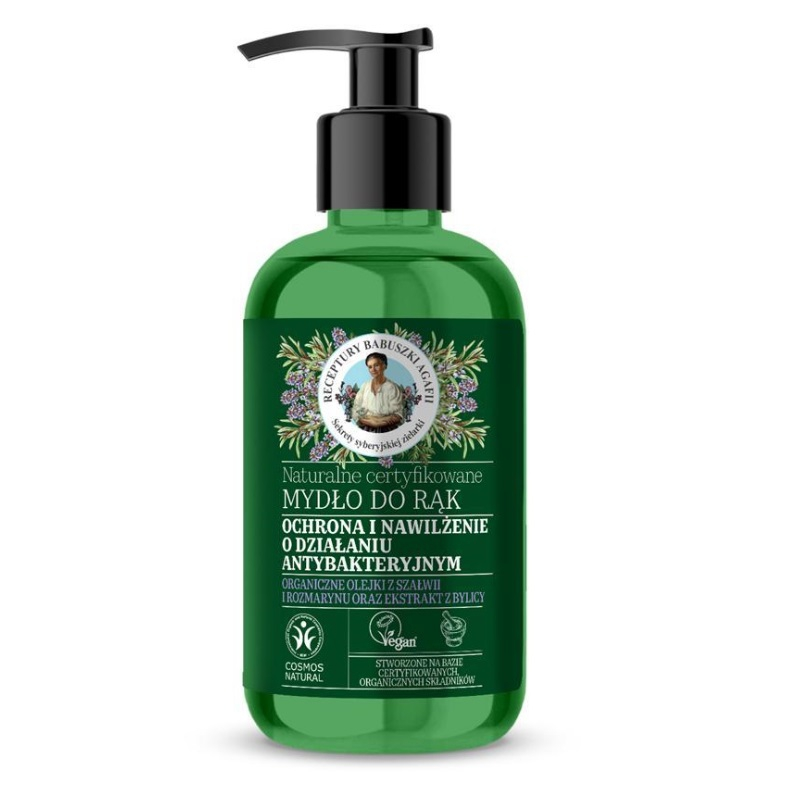 Agafia Zielona Naturalne certyfikowane Mydło do rąk Antybakteryjne Działanie ochronne i nawilżające 300 ml