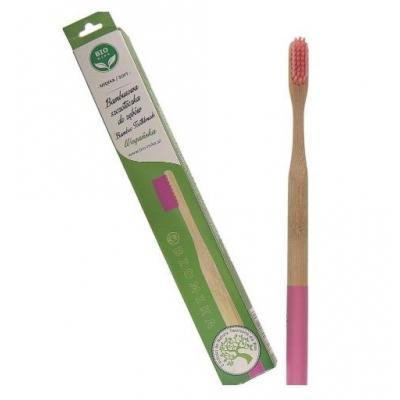 Bambusowa szczoteczka do zębów różowa średnia