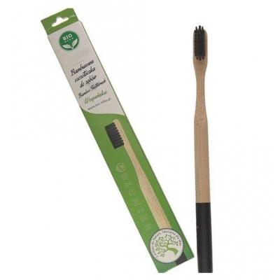 Bambusowa szczoteczka do zębów czarna średnia