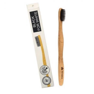 Bambusowa Szczoteczka do zębów czarna wegańska z aktywnym węglem