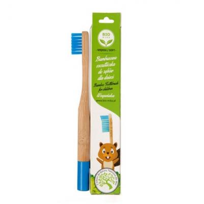 Bambusowa szczoteczka dla dzieci niebieska miękka