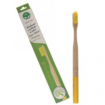 Bambusowa szczoteczka do zębów żółta średnia