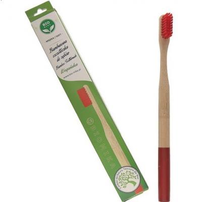Bambusowa szczoteczka do zębów czerwona średnia