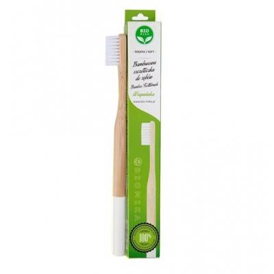 Bambusowa szczoteczka do zębów biała miękka